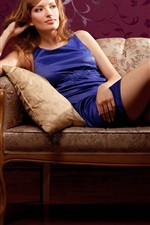 Preview iPhone wallpaper Blue dress girl, blonde, sofa