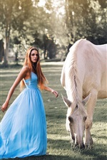 Preview iPhone wallpaper Blue dress girl, long hair, white horse, grass, trees, sunshine