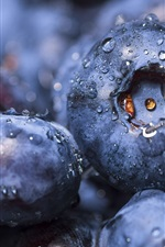 Preview iPhone wallpaper Blueberries close-up, water drops
