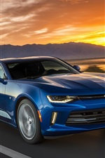 Preview iPhone wallpaper Chevrolet Camaro blue car, speed, sunset