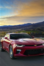 Preview iPhone wallpaper Chevrolet Camaro red supercar, speed, road, sunrise