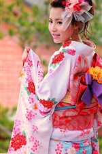 Preview iPhone wallpaper Colorful clothes, kimono, Japanese girl smile