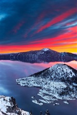 Preview iPhone wallpaper Crater Lake, beautiful winter, snow, sunrise, mountains, clouds