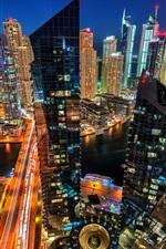 미리보기 iPhone 배경 화면 두바이 마리나, 아랍 에미리트, 도시, 저녁, 건물, 고층 빌딩, 주택, 조명