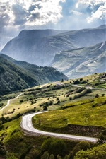 Preview iPhone wallpaper France, Alps, mountains, fields, roads, village, clouds, sun rays
