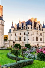 Preview iPhone wallpaper France, Chenonceau chateau, castle, lawn, bushes, garden