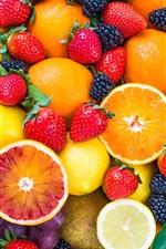 Preview iPhone wallpaper Fresh fruits, strawberries, raspberries, orange, apple, kiwi, grape