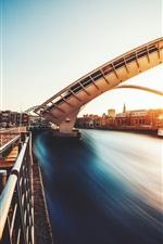 Preview iPhone wallpaper Gateshead Millennium Bridge, river, house, sunset, UK