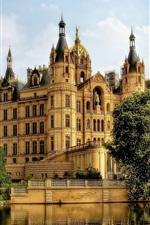 Germany, Schwerin, castle, river, tree, bridge, clouds