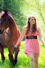 Preview iPhone wallpaper Girl and horse, grass, forest