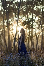 Preview iPhone wallpaper Girl in the forest, morning, sunrise, trees, flowers