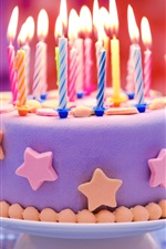 Preview iPhone wallpaper Happy Birthday, cake, candles, stars