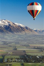 Preview iPhone wallpaper Hot air balloon, sports, mountains, field