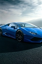Preview iPhone wallpaper Lamborghini Huracan blue luxury supercar, road, clouds