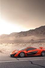 McLaren P1 orange supercar, road, desert, sun