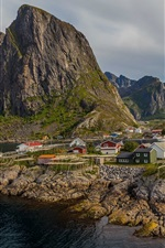 Preview iPhone wallpaper Norway, mountains, sea, town, bay, houses
