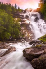 Preview iPhone wallpaper Norway, waterfall, river, trees, sunset