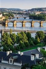 Aperçu iPhone fond d'écranPrague, République tchèque, ville, la rivière Vltava, ponts, maisons