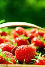 Preview iPhone wallpaper Red strawberry, fresh fruit, basket, light