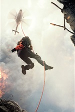 Preview iPhone wallpaper San Andreas, Dwayne Johnson, helicopter, rope