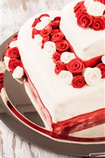 Preview iPhone wallpaper Sweet cake, dessert, roses, love hearts