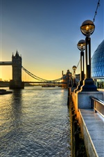 Preview iPhone wallpaper Tower Bridge, England, London, buildings, Thames river, sunrise, morning