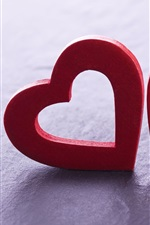 Preview iPhone wallpaper Two red love hearts, romantic