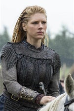 Preview iPhone wallpaper Vikings, historical drama, Katheryn Winnick, horse