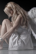 Preview iPhone wallpaper White dress girl, wings, angel