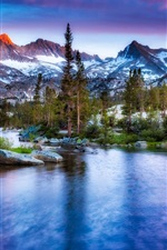 Winter, river, snow, trees, mountains, clouds, dusk
