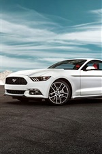 Preview iPhone wallpaper 2015 Ford Mustang GT white car