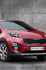 Preview iPhone wallpaper 2015 Kia Sportage red SUV car