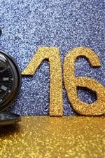 2016 Happy New Year, golden, glitter, watch