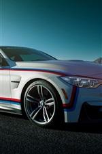 iPhone fondos de pantalla BMW M4 cupé, coche blanco vista lateral