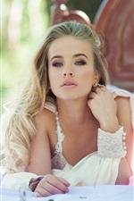 Beautiful bride, white dress, bed, bokeh
