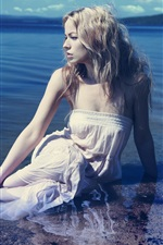 Preview iPhone wallpaper Blonde girl in water, coast, sea