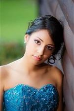 Preview iPhone wallpaper Blue dress asian girl, face, black hair
