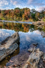 Preview iPhone wallpaper Blue sky, clouds, lake, trees, rocks, autumn