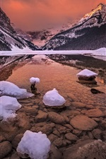 Preview iPhone wallpaper Canada, Alberta, Banff National Park, rocky mountains, glacial lake, snow
