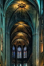 Preview iPhone wallpaper Cathedral, Notre Dame, indoor, Paris, France