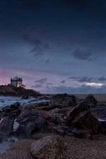 Coast, sea, beach, rocks, dusk, house