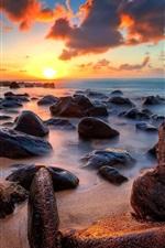 Preview iPhone wallpaper Coast, sea, ocean, stones, sunrise, clouds, horizon