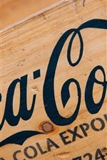 Coca-Cola logo, wood board