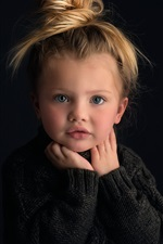Preview iPhone wallpaper Cute baby girl, portrait, blonde, black background