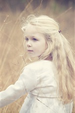 Preview iPhone wallpaper Cute little girl, blonde, wind, grass