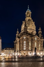 Dresden, Germany, city night, lights, square, buildings