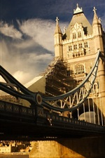 Preview iPhone wallpaper England, Tower Bridge, London, river, clouds