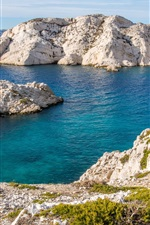 Preview iPhone wallpaper France, Marseille, coast, blue sea, stones