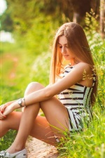 Preview iPhone wallpaper Girl in summer, relaxation, nature, grass