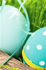 Happy Easter, blue color eggs, grass, spring